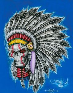 Native American Colour Airbrush Artwork