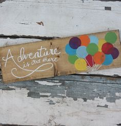 Up: Adventure is out there handpainted wooden sign by Kicks Crafts on Etsy