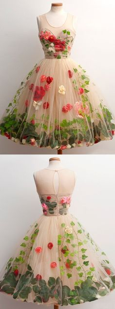 Tulle champagne cocktail dress with flowers leaves- Tüll Champagner Cocktailkleid mit Blumen Blätter Tulle champagne cocktail dress with flowers leaves - Champagne Homecoming Dresses, A Line Prom Dresses, Flower Dresses, Short Dresses, Formal Dresses, Tulle Flowers, Red Flowers, Unique Flowers, Dress Prom
