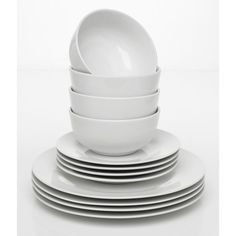 A simple and budget friendly white porcelain 12 piece dinnerset, perfect starter kit for a new flat. The dinner set includes 4 of each, dinner plates side plates and bowls and deep. Microwave and Dishwasher safe. Dinner Sets Uk, White Dining Set, Cottage In The Woods, Wood Cottage, Kitchenware, Tableware, Wedding Linens, Moving House, Kitchen Items