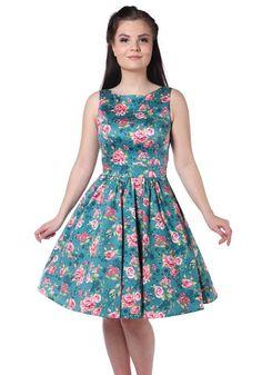 Dusty Rose Tea, sinertävä teamekko -  www.misswindyshop.com   #dress #floral #vintage #fifties #circle #rose #teal #petticoat