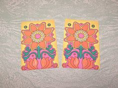 Vintage mod modern psychedelic flower floral daisy single swap playing card by BigGDesigns on Etsy