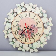 Wall clock Shabby chic Home & Living Home decor Wall art Decoupage New item House-warming Spring flowers Red roses Gift for her Clocks Watch