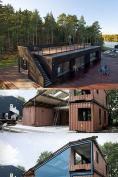 40 Modern & Affordable Prefab Home Designs Affordable Prefab Homes, Modern Prefab Homes, Unique House Design, Rustic Design, Building A Tiny House, Minimal Living, Getaway Cabins, Shipping Containers, Architectural Elements