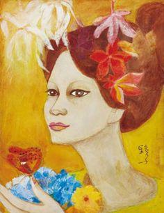 (Korea) Woman with flower by Chun Kyung-ja (1924~2015), Korea. 천경자.