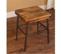 A simple functional design made out of distressed reclaimed wood and hand-worked steel give the Merlot stool a rustic elegance. handcrafted in the USA.