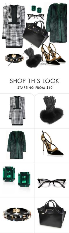 """In the Office"" by elenzark ❤ liked on Polyvore featuring Balmain, AGNELLE, Dries Van Noten, Sergio Rossi, CARAT* London, Chanel and Victoria Beckham"