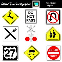 Road Signs Clip Art for Scrapbooking Card Making Paper Crafts