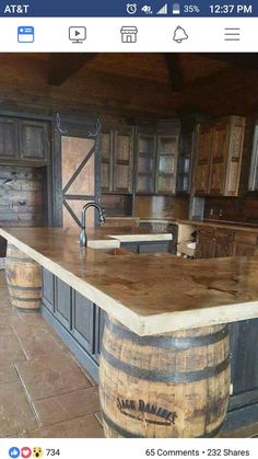 Cast in place whiskey colored concrete countertops in a Stone-Crete Artistry, Whiskey Kitchen, Jack Daniels barrels Outdoor Kitchen Design, Kitchen Rustic, Bar Kitchen, Out Door Kitchen Ideas, Man Cave Kitchen Ideas, Rustic Outdoor Kitchens, Western Kitchen Decor, Western Bedroom Decor, Outdoor Kitchen Plans