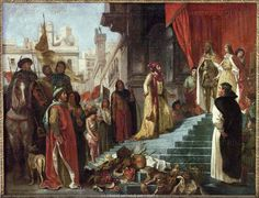 """and financing Cristóbal  Colón' (or Christopher Columbus) 1492 voyage that led to the opening of the """"New World"""". Isabella was granted the title Servant of God by the Catholic Church in 1974. (Paining is The return of Christopher Columbus;his audience before King Ferdinand and Queen Isabella)"""