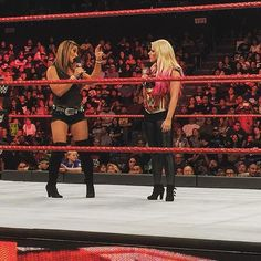 """wwe @themickiejames lets @alexa_bliss_wwe_ know that there is still a superstar in the #Raw #WomensDivision that she hasn't """"run through."""" 2017/09/26 10:25:06"""