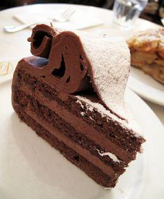 Demel's Anna Torte (house specialty), moist chocolate cake layered with nougatine & orange liquor.