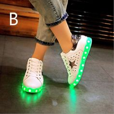 Silver Black Adult Light Up Shoes Hollow