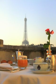 """Breakfast in Paris on a sunny day. """"If you are lucky enough to have lived in Paris as a young man, then wherever you go for the rest of your life, it stays with you, for Paris is a moveable feast. Oh Paris, I Love Paris, Paris Cafe, Oh The Places You'll Go, Places To Travel, Travel Stuff, Torre Eiffel Paris, Dream Vacations, The Good Place"""