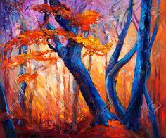 Peinture à L'huile Montrant Bel Arbre D'automne Sur La Toile. Impressionnisme Moderne Banque D'Images, Photos, Illustrations Libre De Droits. Pic 24294250.