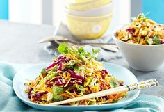 This vegetarian Asian cabbage and noodle coleslaw has a sweet peanut and ginger dressing with roasted almonds for an added crunch
