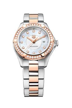 TAG Heuer Aquaracer Lady in steel with rose gold, set with diamonds.