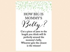 how big is mommy's belly, guess the size of mom's belly, how big is tummy, Green confetti Baby Shower, gender neutral baby shower TLC53