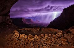 "Thunderstorm at False Kiva, Utah. ""I hiked out to these ruins at night hoping to photograph them with the Milky Way, but instead a thunderstorm rolled through, creating this dramatic image."" —Max Seigal"