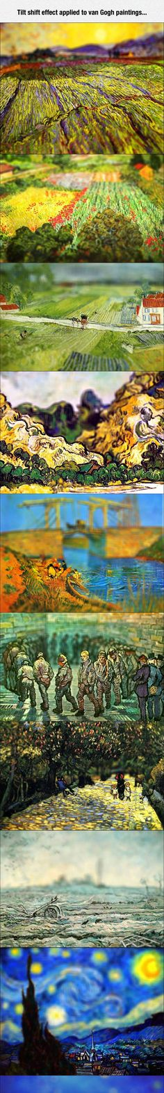 The tilt shift effect applied to Van Gogh paintings