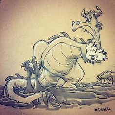 "#inktober day 23: SLOW. ""Norwynne the Voracious"" even the swiftest of dragons are delayed by a well placed bog. #inktoberdragons (phew, now I'm caught up...but for how long? Thanks for all the great feed back on my dragons! There will be a book featuring all of these early next year, in the meantime, prints will go on sale this Friday!)"