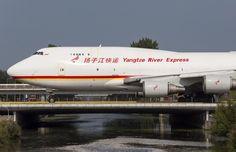 Yangtze River Express,, all cargo company - Boeing 747-400F freighter crossing the bridge at Schiphol - via PJ de Jong
