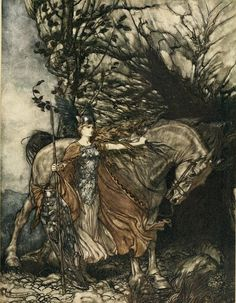 Arthur Rackham 'Brünnhilde with her horse, at the mouth of the cave' - Art Nouveau illustration