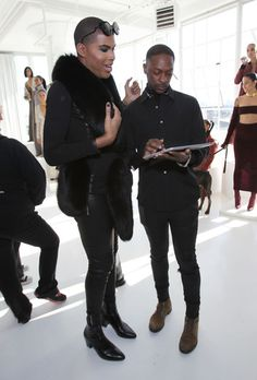 NEW YORK, NY - FEBRUARY 14: EJ Johnson (L) and fashion designer LaQuan Smith pose during SheaMoisture at Laquan Smith F/W 2016 NYFW at Jack Studios on February 14, 2016 in New York City. (Photo by Bennett Raglin/Getty Images for SheaMoisture)