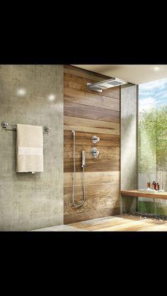 Banheiro madeira e cimento queimado