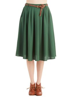 Bottoms - Breathtaking Tiger Lilies Skirt in Stem Green
