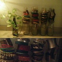 I love home decor and try and do small things to add some element of color and positive vibe.. And I love anything that spells boho.. Indian.. Earthen.. Ethnic.. Colourful :-) so from today I will try and share simple decor ideas... #number1 Well confused how to keep bangles organized? Use wine bottles.. It not only serves the purpose but also looks quite great #decorideas #boho #bohodecor #homedecor #DIY.. Well I'm also thinking of painting them #100decorideas
