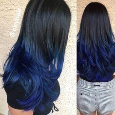 black to blue ombre, nautical navy blue, mermaid hair
