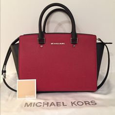 MICHAEL Micheal Kors Selma Large Satchel New with tags, Saffiano leather, colorblock Scarlet Red and Black Satchel with silver hardware. Detachable shoulder strap 19in. Handle drop 5 in. Comes with dust bag and card of authenticity. MICHAEL Michael Kors Bags Satchels