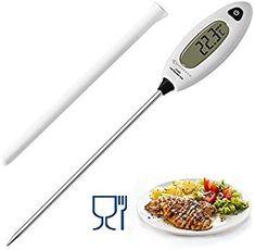 MYCARBON Thermomètre de Cuisson Longue Sonde de Température Thermomètre Cuisine Digital Lecture Instantanée 5 Secondes LCD Large Ecran Thermomètre à Viande, Barbecue, Pâtisserie, eau de bain