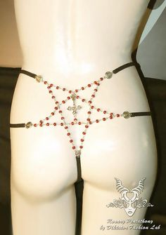 Pentagram Rosary 666 Occult Gothic Thong by DiktatorFashionLab
