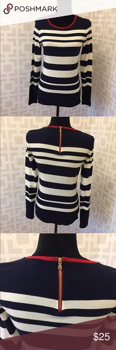 Lauren Ralph Lauren striped long sleeve top m Excellent condition. No flaws. Navy blue, white and red with zipper accent t the back. Lauren Ralph Lauren Tops Tees - Long Sleeve
