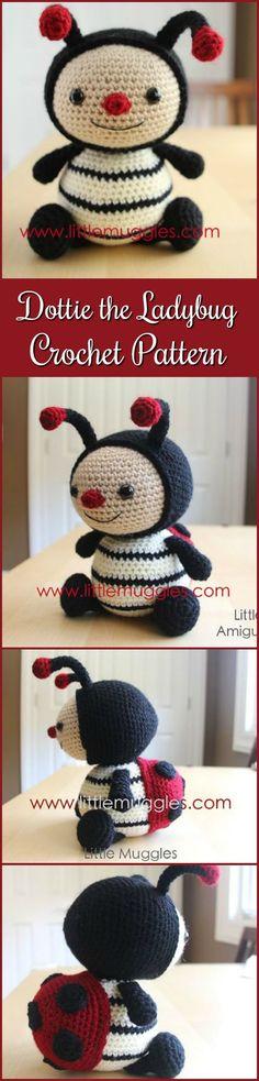Amigurumi Crochet Pattern - Dottie the Ladybug #crochet #ad #amigurumi #pdf