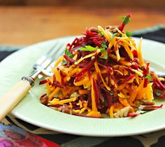Raw beet, butternut and pecan slaw with #pecans. Best of all, this recipe is vegan, gluten-free, and paleo
