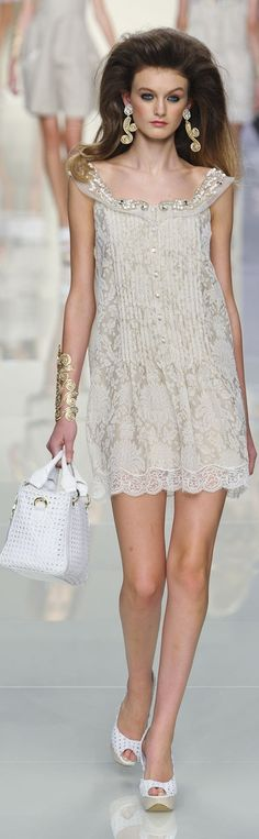 Roccobarocco ~ Lace Print Ivory Mini Dress w Embellished  Dropped Round Collar, 2012