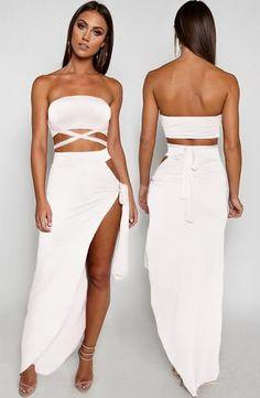 ced68bb8e5fa Zyla Wrap Set - White Two Piece Skirt Set, Two Pieces, Strapless Dress,