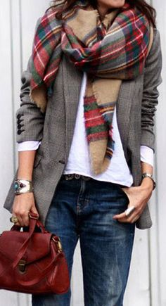 jeans, white tee, gray blazer, plaid scarf & oxblood handbag ❤︎ #style