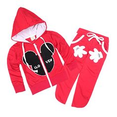 LittleSpring Little Boys' Slim Pants Cartoon Clothing Set Size 5 US Red *** More info @