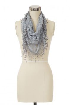 Type 2 Vintage Lace Scarf in Grey - $16.97