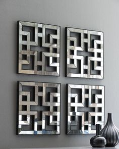 H57ZG Four Akari Mirrored Fretwork Panels