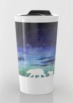 """Aurora borealis and polar bears (white version)"" Travel Mug by Savousepate on Society6 #travelmug #mug #watercolorpainting #auroraborealis #night #sunset #polarbears #blue #purple #green #black #white"