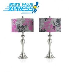 Set of 2 Purple & Grey Floral Lamps