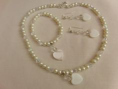 Cream Pearl and Mother of Pearl Heart Bridal by OswestryJewels