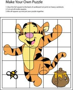 Baby Tigger Puzzle Activities For 5 Year Olds, Motor Skills Activities, Toddler Learning Activities, Games For Toddlers, Infant Activities, Preschool Activities, Book Review Template, Puzzles For Kids, Number Puzzles