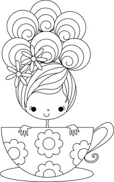 Stamping Bella Unmounted Rubber Stamp-Tilly The Teacup Girl ...