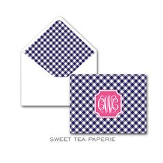 Gingham Foldover Note Cards   Sweet Tea Paperie